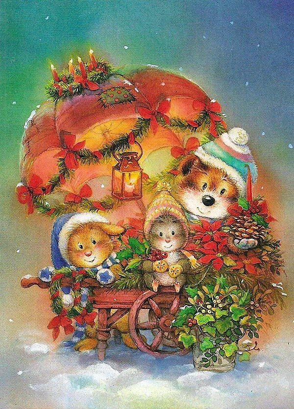 Рождественские открытки для детей, красивые картинки