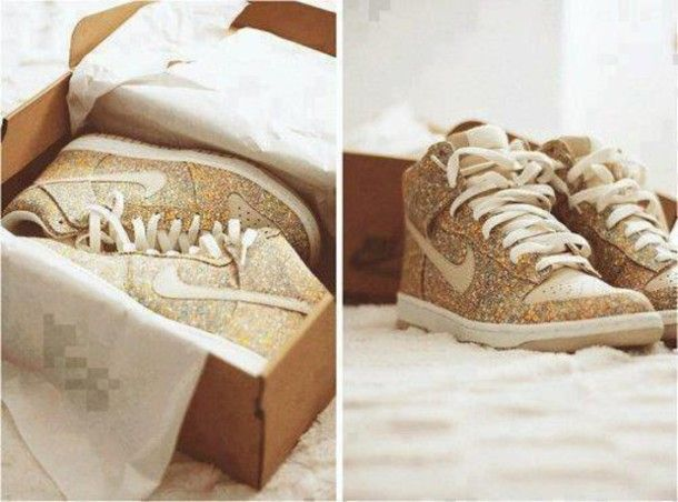 womens white and gold nike hi tops - Google Search
