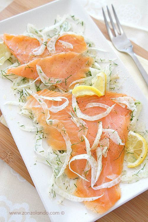 Insalata di finocchi con salmone affumicato ricetta leggera - smoked salmon and fennel salad light recipe