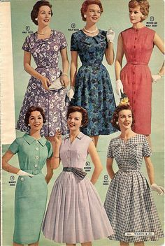 Six lovely, stylish summer dresses from 1959. It's hard to pick just one favorite!