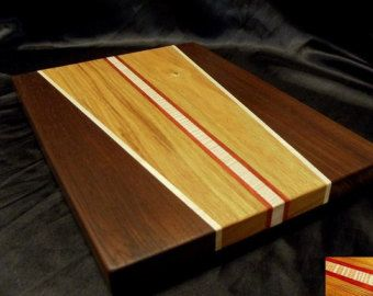 Curvy Figured Maple and Walnut Cutting Board by DPcustoms on Etsy