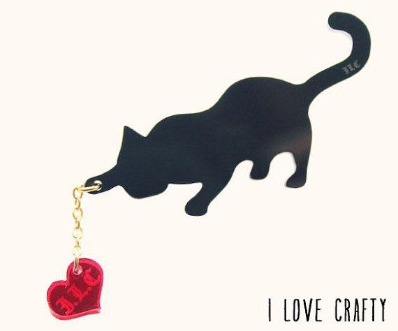 Cat Jewelry // I Love my Kitty Brooch by FelineFataleShop on Etsy, £15.00