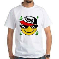 Smiley Thug Life White T-Shirt. Thug life t-shirt. Once a upon a thug life. Smiley thug life emoticon. Funny thug life t-shirt.