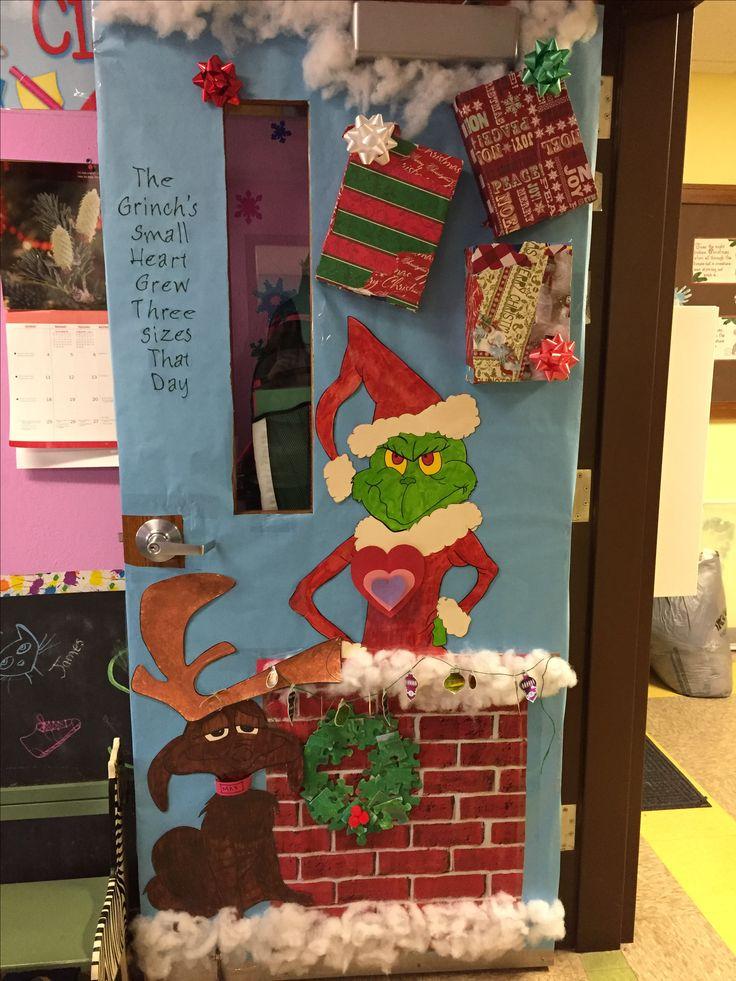 Door decorating contest- kids modge podged the presents ...
