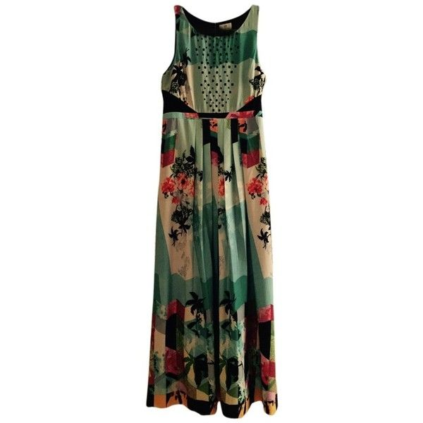 Pre-owned Anthropologie Marina-jade 017 Dress ($284) ❤ liked on Polyvore featuring dresses, multicolor, going out dresses, colorful maxi dress, black dress, maxi dress and night out dresses