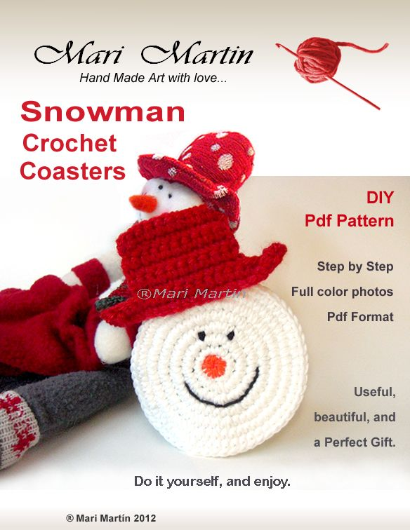 Thinking Of Christmas Crochet Coasters Snowman Colorful