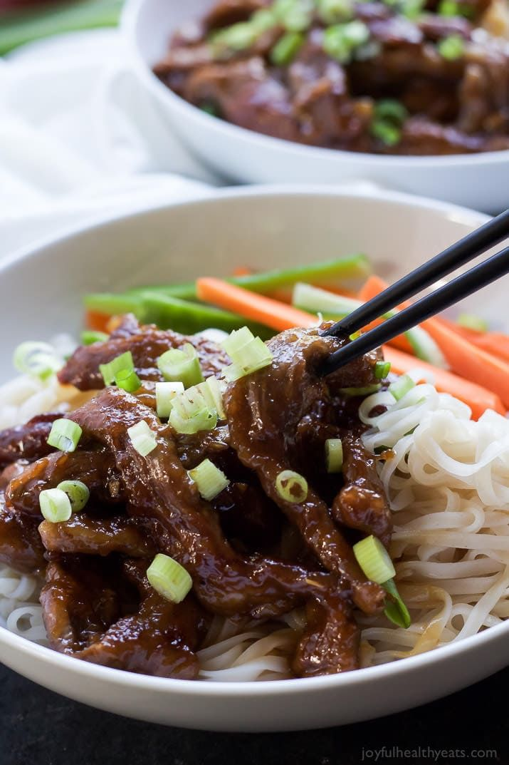 Honey Sriracha Mongolian Beef With Rice Noodles Recipe Beef