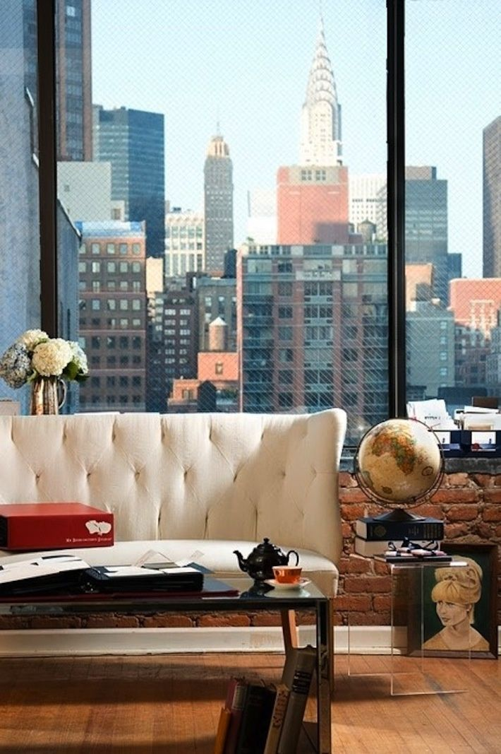 New York City apartment skyline view featuring the Chrysler building