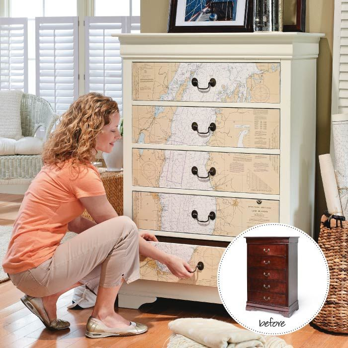 Update a drab dresser by adhering a map, a chart, or other printed paper to the drawers.