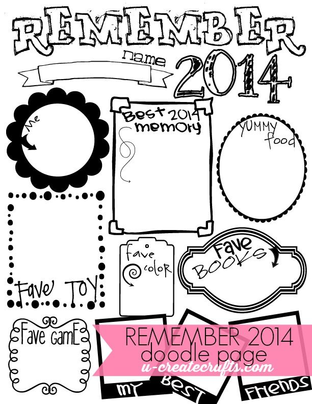 End of the Year Doodle Page - Both adults and kids will love this End of the Year Free Printable Doodle page at the New Years party.