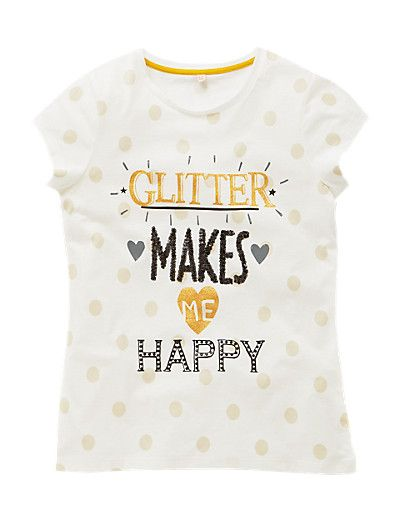 Pure Cotton Glitter Makes Me Happy T-Shirt with StayNEW™ (5-14 Years) Clothing