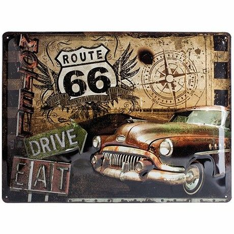 Vintage Tin Plate Route 66 Trip Sign in Various Sizes Large multicoloured