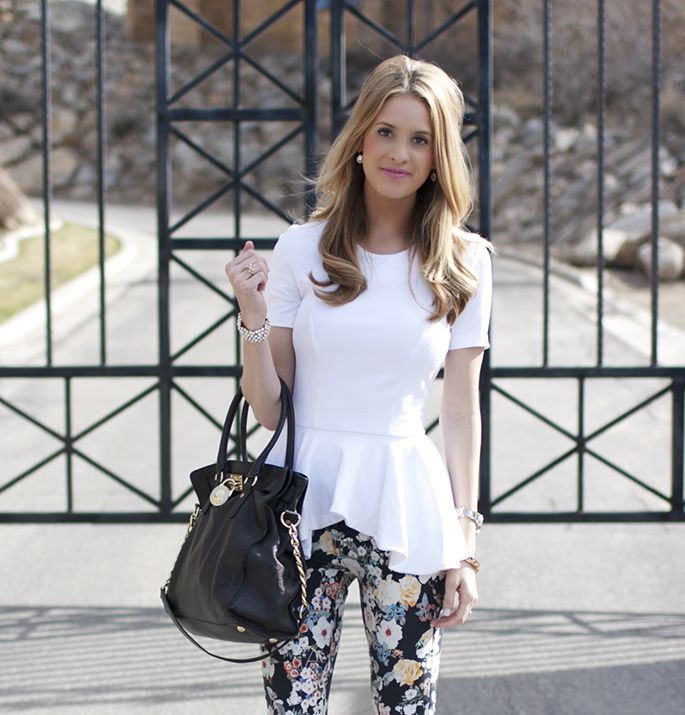 White Peplum, Dark Floral Jeans, Black Heels :: Ivory Lane