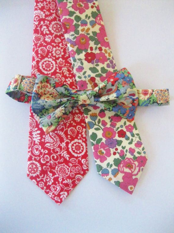 Red Fl Bow Tie Liberty Of London Print Custom