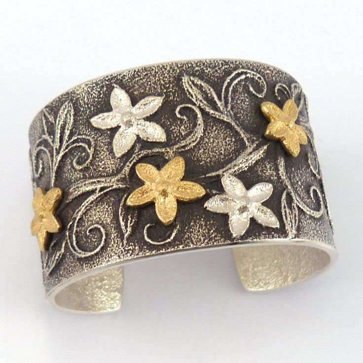 """Wide Sterling Silver Cuff Bracelet with Tufa Cast Flower Designs in Sterling Silver and 18k Gold. 1.5"""" Cuff Width 5.125"""" Inside Measurement, plus .875"""" opening"""