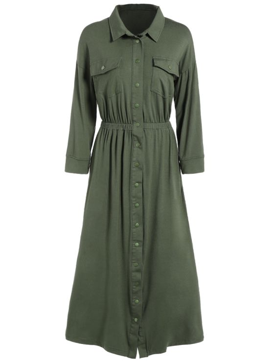 Midi Shirt Military Dress With Pockets - ARMY GREEN M Mobile