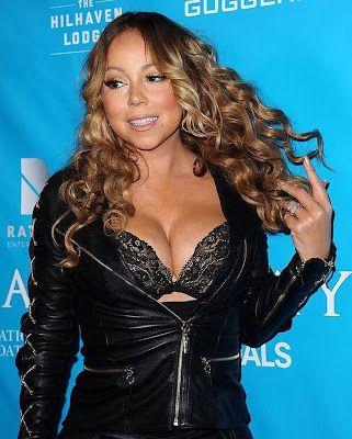 Ele & Elis Blog: Mariah Carey flaunts major cleavage in sexy leathe...