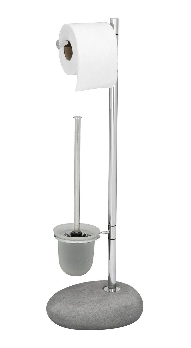 WENKO Stand WC-Garnitur Pebble Stone Grey  Description: Die Bad-Accessoires Serie Pebble Stone aus hochwertigem Polyresin verleiht jedem Badezimmer individuellen Charme. Durch die stilvollen Formen die wie Kieselsteine anmuten macht die hochwertige Serie im täglichen Gebrauch stets eine gute Figur. Die Stand WC-Garnitur ist eine 2 in 1 Kombination aus Toilettenpapierrollen- und offenem satiniertem WC-Bürstenhalter aus Glas. Mit diesem praktischen Helfer werden Papier und Bürste stets…