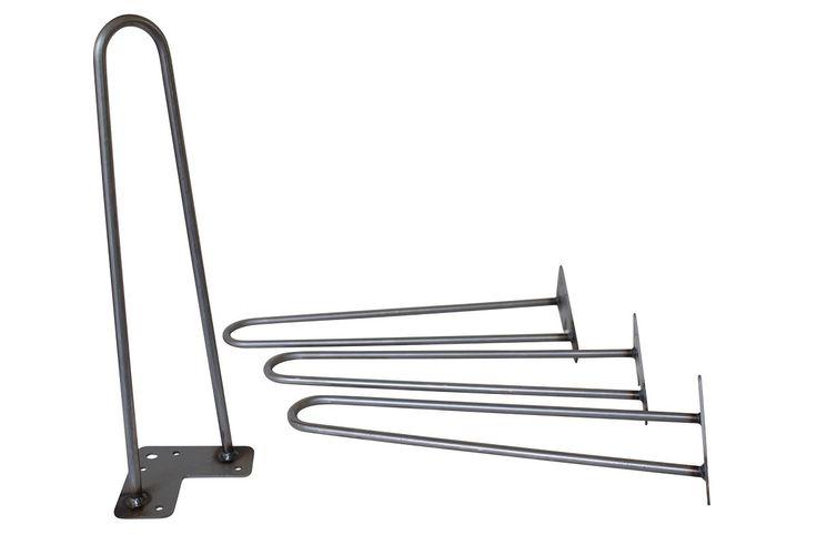 "16"" Hairpin Legs - Raw Steel"