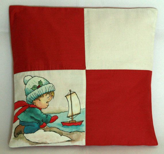 Winter Pillow Cover Boy With a Ship Cushion by FennekArtDesign