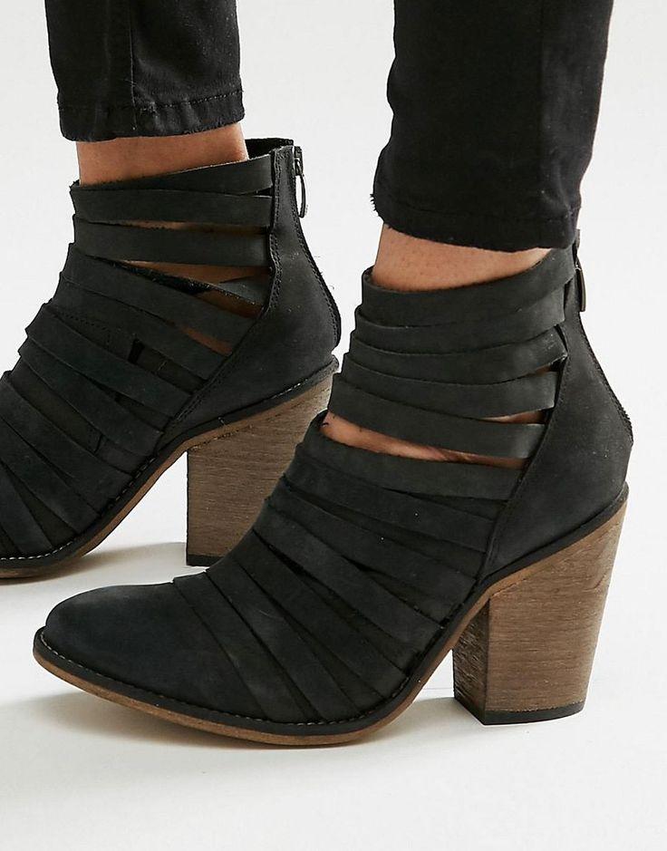 Free+People+Hybrid+Black+Leather+Heeled+Ankle+Boots