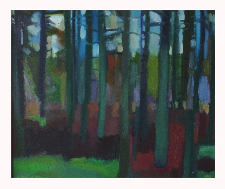 "Anna CARPENTER ""Forest as stained glass"" oil on canvas"