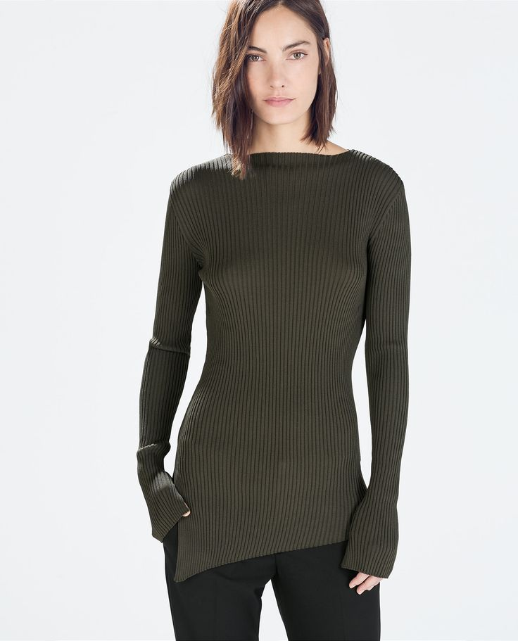 Image 2 of RIBBED BOAT NECK SWEATER from Zara