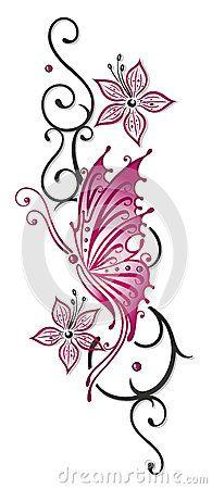 Flowers, tendril, butterfly by Christine Krahl, via Dreamstime