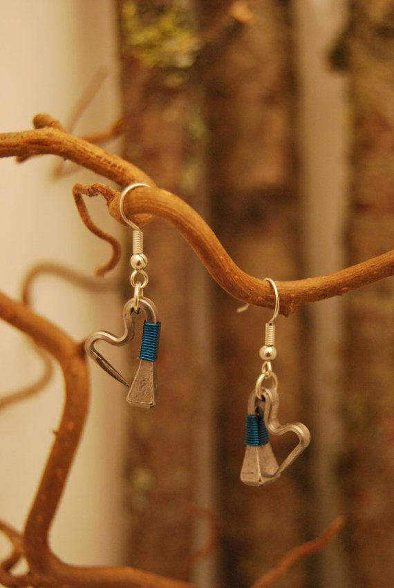 Heartshaped Earrings of Swedish horseshoenails with blue copperwire.
