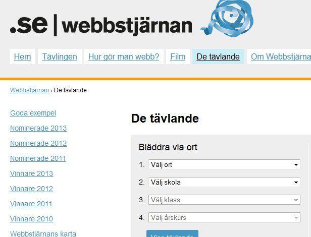 De tävlande på webbstjärnan: http://www.webbstjarnan.se/de-tavlande/ . De 73 tävlande i Lund: http://www.webbstjarnan.se/de-tavlande/?city=THVuZA== . De 11 tävlande i Malmö http://www.webbstjarnan.se/de-tavlande/?city=TWFsbcO2 . De 8 tävlande i Kalmar http://www.webbstjarnan.se/de-tavlande/?city=S2FsbWFy .