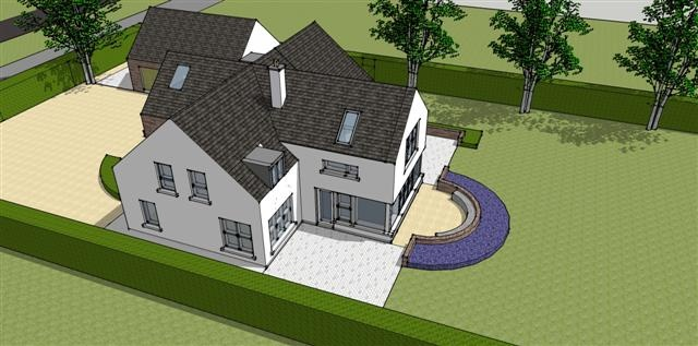 Bird's eye view of proposed new dwelling design near Cork City Airport,Cork by Hugodesign