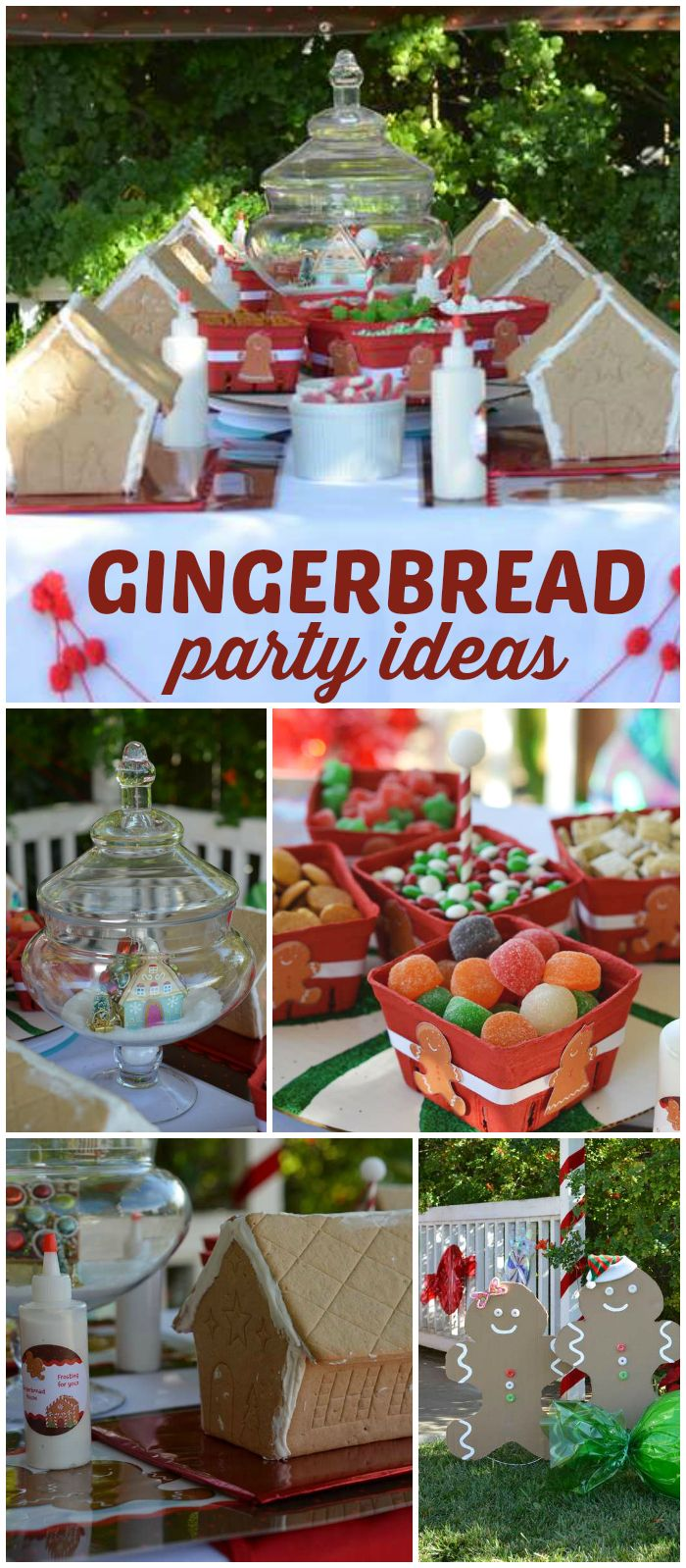 A kid friendly gingerbread house decorating party with candy in lazy susans and icing squeeze bottles! See more party planning ideas at CatchMyParty.com!