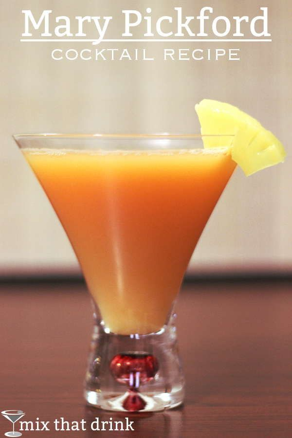 The Mary Pickford cocktail recipe is named for the silent movie actress of a bygone era. This drink blends pineapple juice with rum, grenadine, and maraschino liqueur for a sweet, fruity treat.