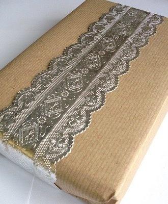 Brown paper and foil ribbon.