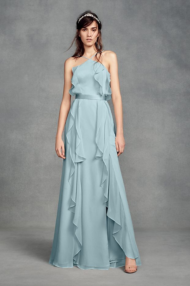 cf05a48096d6 This high-neck chiffon bridesmaid dress from White by Vera Wang is adorned  with cascading ruffles and accented by a skinny tie at the low-scooped back.