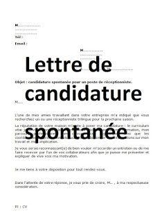 Lettre de candidature spontanée - EXEMPLE WORD