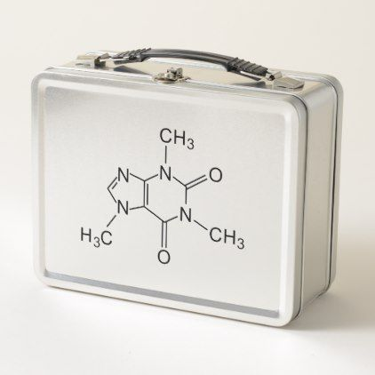 caffeine chemical formula coffee chemistry element metal lunch box - kitchen gifts diy ideas decor special unique individual customized