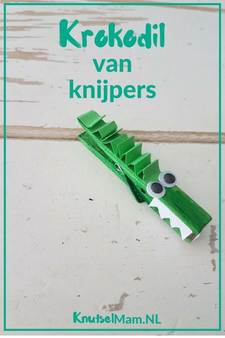 knutselen met knijpers Krokodil KnutselMam.Nl