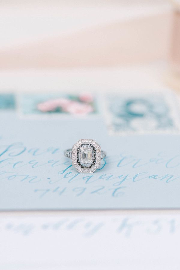 Antique emerald-cut diamond with an octagonal halo and filigree: http://www.stylemepretty.com/maryland-weddings/2015/09/08/elegant-romantic-editorial-shoot-at-strong-mansion/ | Photography: Elizabeth Fogarty - http://elizabethfogartyphotography.com/