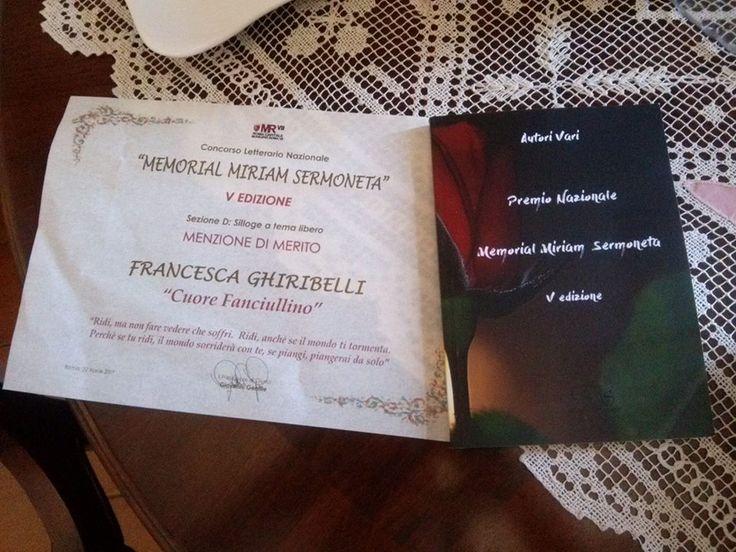 Premio Memorial Miriam Sermoneta,grazie alla giuria e al presidente Giovanni Gentile per l'attestato e l'inserimento della mia silloge all' interno dell'antologia del concorso