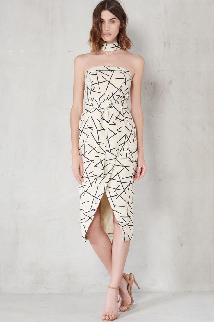 Cream & Black Abstract Print Collar Neck Tie Belt Midi Dress