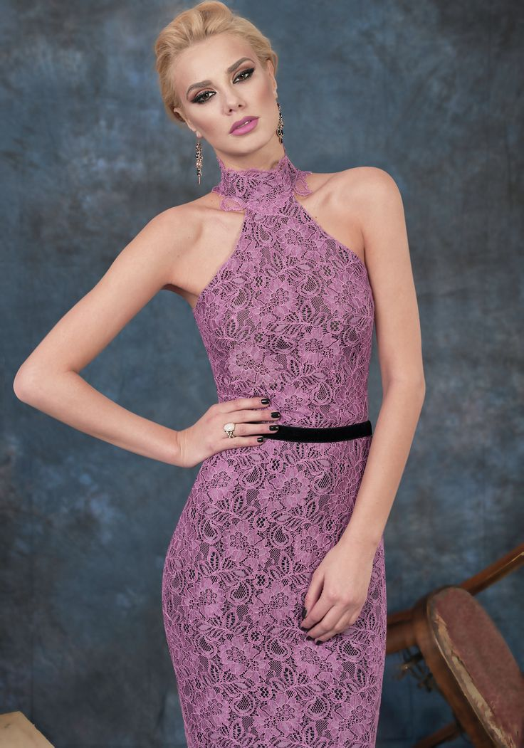 Pink midi lace dress for cocktail parties.