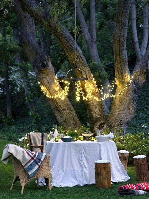 BackyardIdeas, Fairies Lights, Dinner Parties, String Lights, Outdoor Spaces, Gardens Parties, Dinner Tonight, Backyards, Romantic Dinner