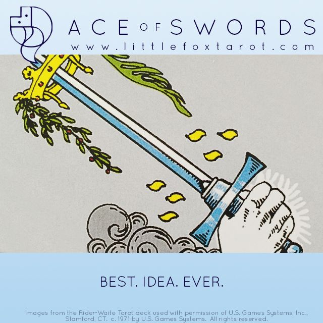 Ace of Swords flash card from Little Fox Tarot