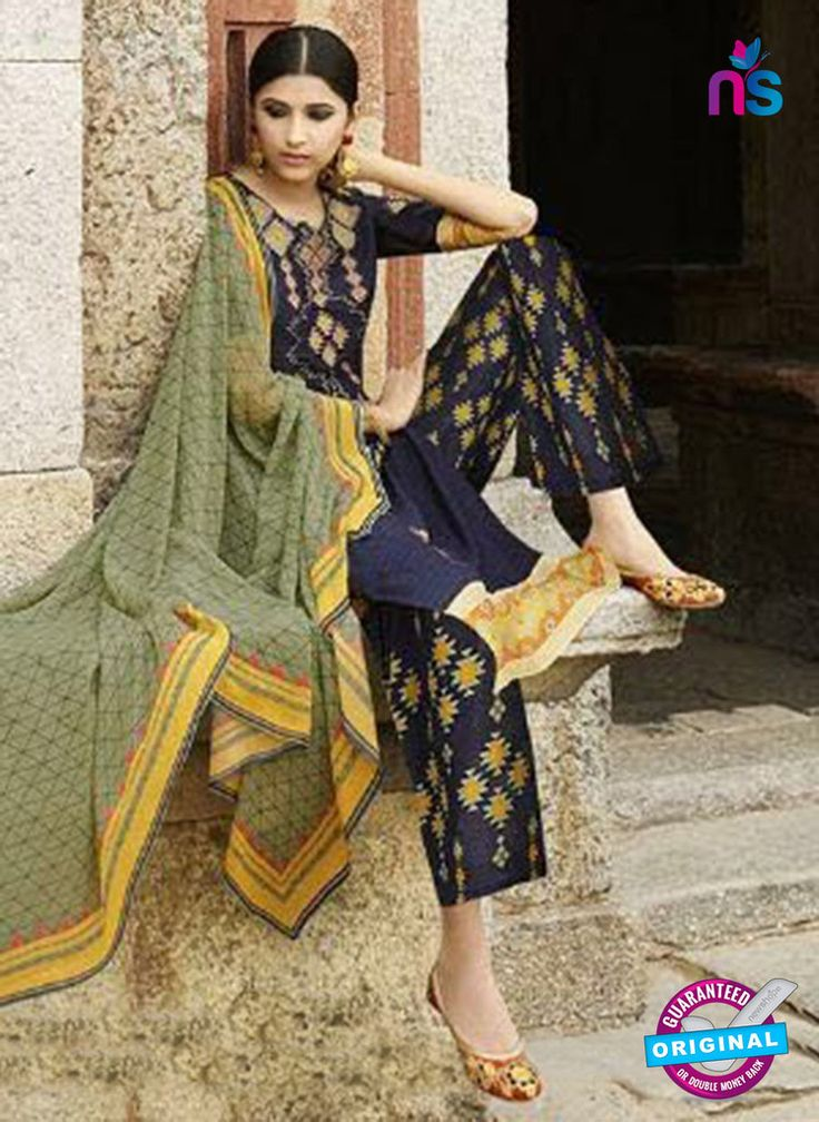 Omtex 1208 B Blue and Yellow Lawn Cotton Plazzo Suit #omtexsalwarsuitsonline #designeromtexsalwarsuits