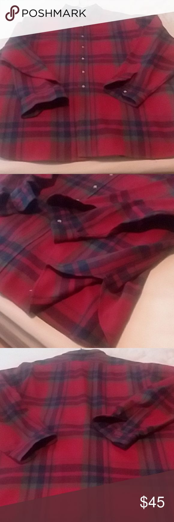Pendleton Heavy Wool Button Up. Red with blue and green tones, heavy, has the extra lining and stitching opposite the buttons and inside the collar.  Never worn.  Size 2X. Pendleton Shirts Dress Shirts