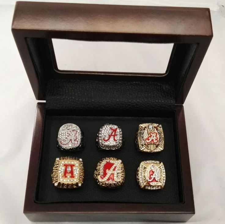 NCAA Bama Collection - Gift Box 1992/2009/2011/2012/2015/2015 Alabama Crimson Tide National Championship Rings With Wooden Boxes