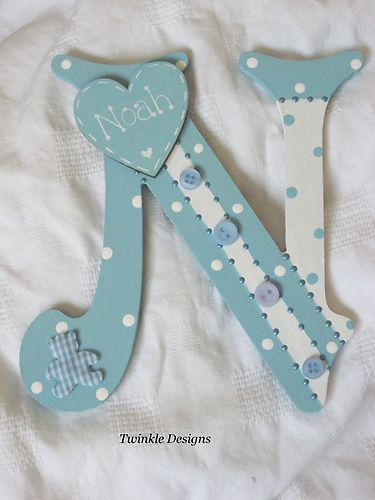 Shabby personalised baby girl/boy christening gift wooden wall letter/name sign