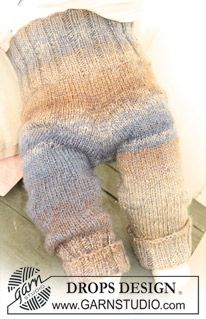 """BabyDROPS 20-7 - Knitted DROPS pants in 2 threads """"Delight"""". - Free pattern by DROPS Design"""