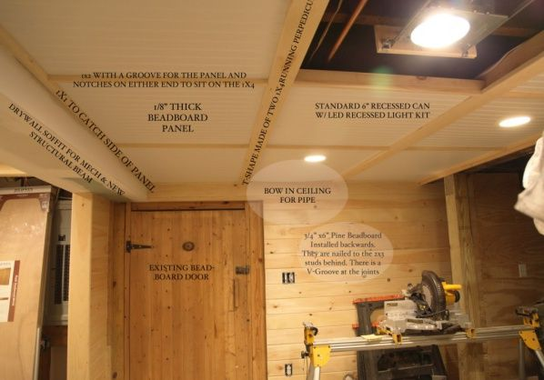 basement ceiling with removable bead board